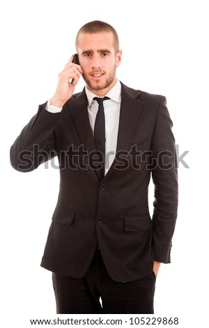 young business man on the phone, isolated on white