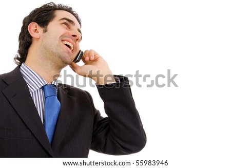 Young business man on the phone, isolated on white background