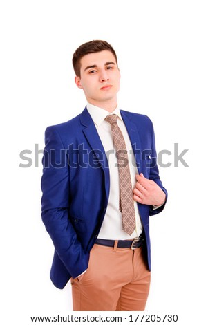 Young business man on  white background