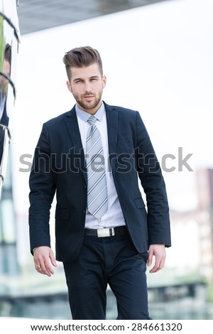 young business man outdoor - stock photo