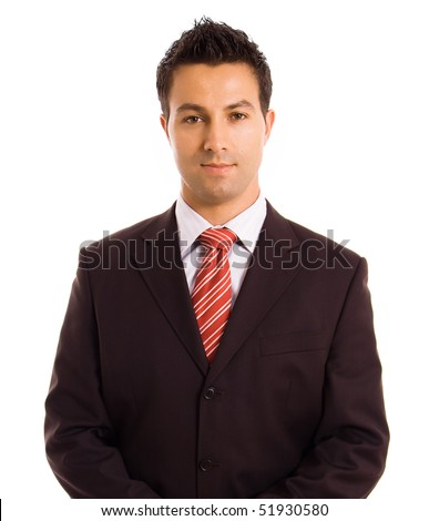 Young business man portrait in white background - stock photo