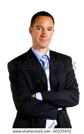 Young business man portrait over white background - stock photo