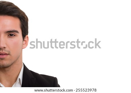 Young business man posing isolated over white background - stock photo