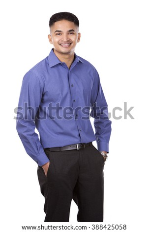 young business man posing on white isolated background - stock photo