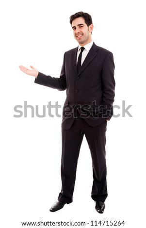 Young business man presenting over white background