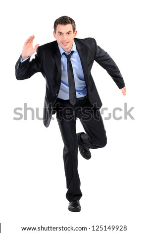 young business man running isolated on white background - stock photo