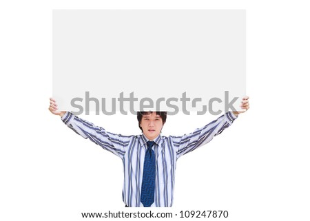 Young business man showing blank signboard, Isolated on white
