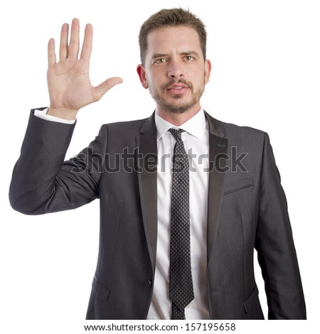 Young business man showing his hand - stock photo