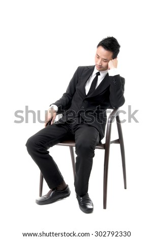 Young Business Man Sleeping On Chair - stock photo