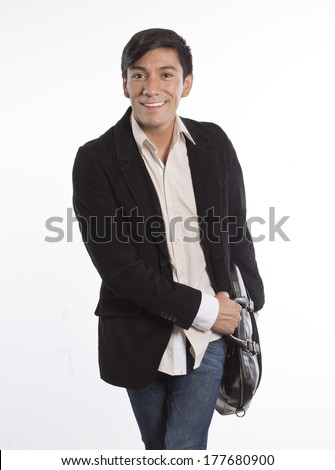 young business man smiling isolated on white
