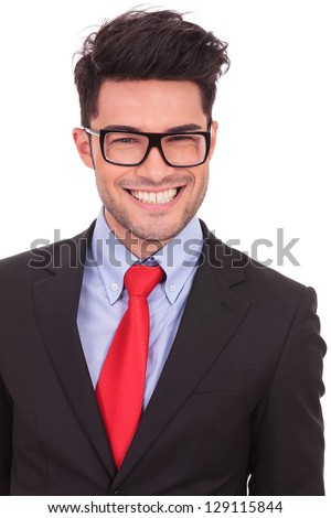 young business man smiling with his mouth up to his ears, isolated on white background