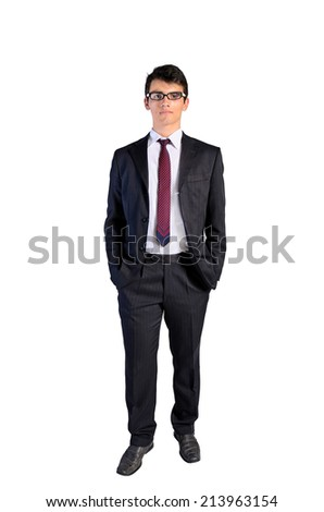 Young business man standing on white background - stock photo