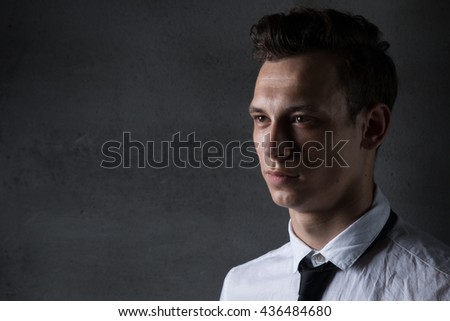 young business man style, fashion the financial sector, piercing glance confident,