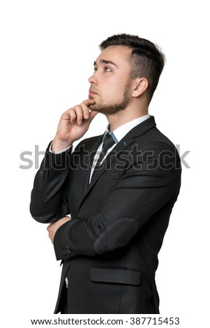 Young business  man, thinking about something, isolated on a white background