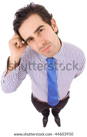 young business man thinking at the office, isolated on white background - stock photo