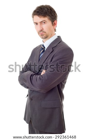 young business man thinking isolated on white - stock photo