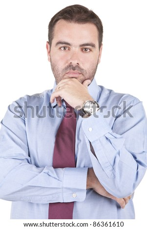 young business man thinking isolated over white background - stock photo