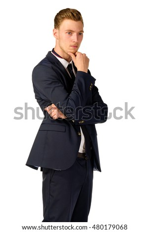 Young business man thinking portrait isolated