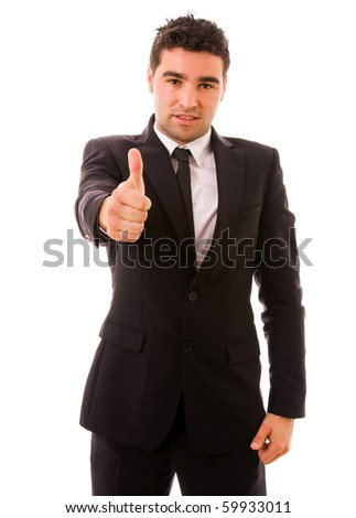 young business man thumb up, isolated on white