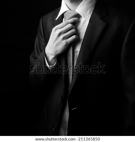 Young business man wear a tie. - stock photo