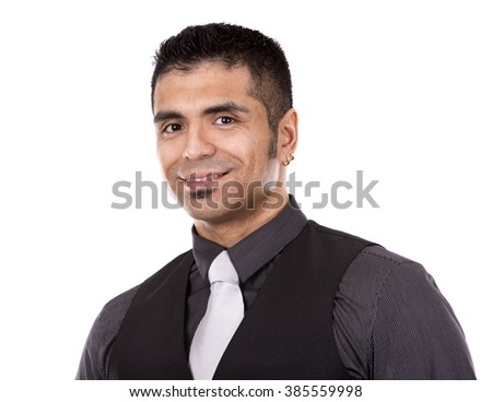 young business man wearing suit posing on white background