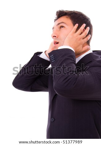 Young business man whith a intense ear pain, over white background