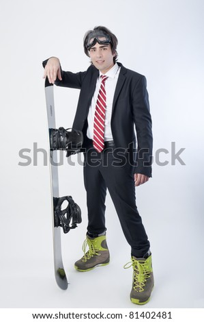 Young business man with a snowboarder