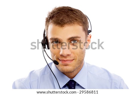 Young business man working, isolated on white - stock photo