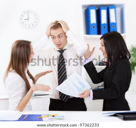 young business people conflict problem working on project in team together, businessmen and women serious argument the financial diagram, graph, business charts, businesspeople meeting at desk office - stock photo