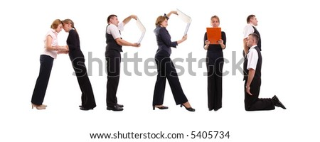 Young business people forming April word over white - business calendar concept - stock photo