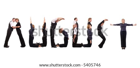 Young business people forming August word over white - business calendar concept - stock photo