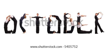 Young business people forming October word over white - business calendar concept - stock photo