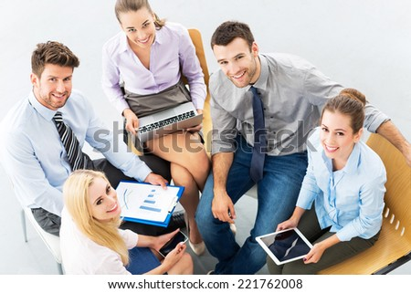 Young business people, high angle view  - stock photo