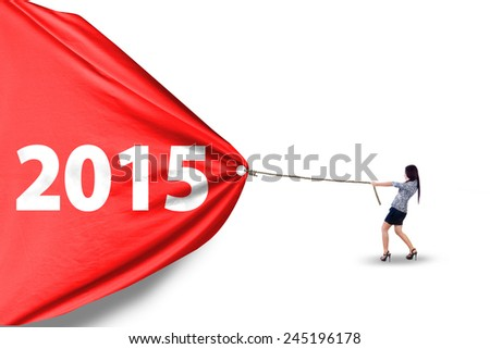 Young business person dragging number 2015 on a big banner in studio, isolated over white background - stock photo