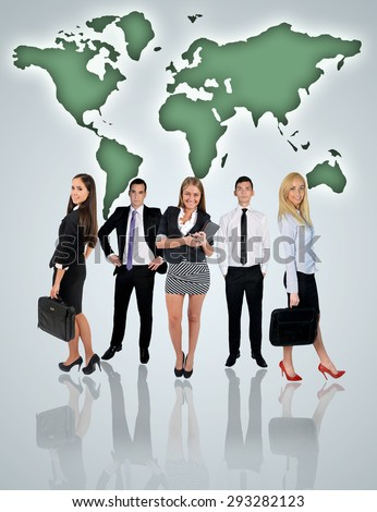 Young business team and world map on blue background