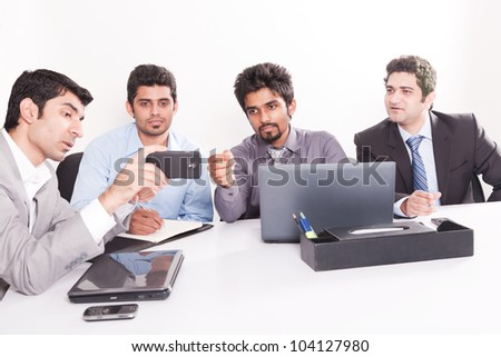 young business team in office meeting, young multiracial businessmen in official meeting