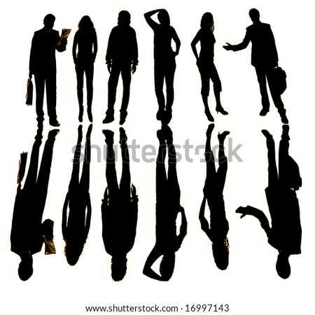 young business team in silouette, isolated on white