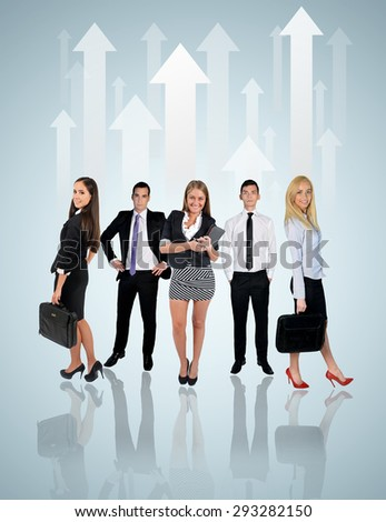 Young business team on blue background