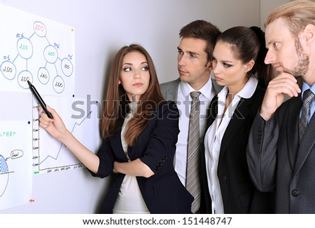 Young business team working in office