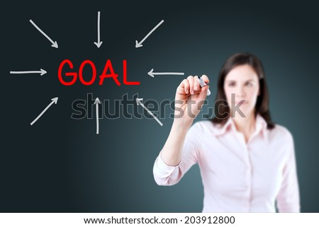 Young business woman access the goal. Blue background.