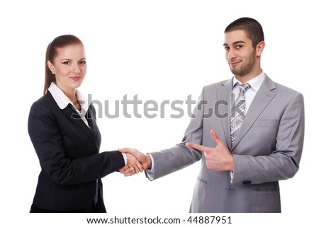 young business woman and young business man shaking hands