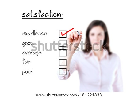 Young business woman checking excellence on customer satisfaction survey form, white background.
