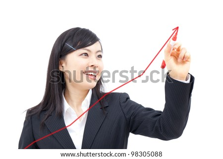 young business woman drawing a graph, isolated on white background - stock photo