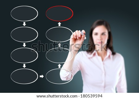 Young business woman drawing blank eight stage strategy flowchart.  - stock photo