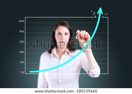 Young business woman drawing over target achievement graph.  - stock photo