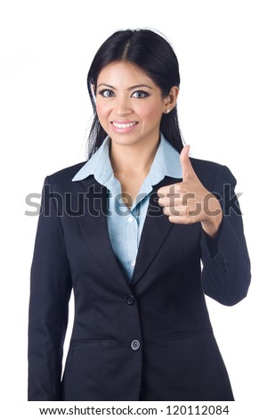 Young business woman gesturing thumbs up sign over white background - stock photo