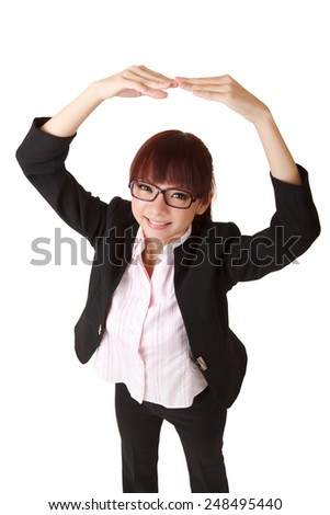 Young business woman give you okay gesture, closeup portrait on white background.