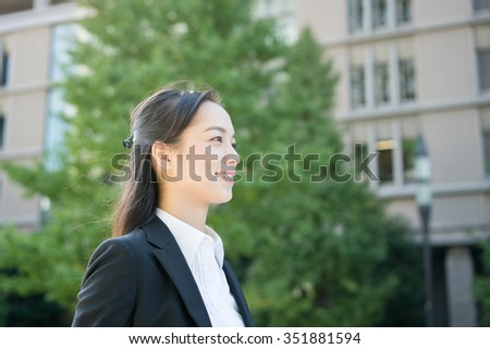 young business woman going to work - stock photo