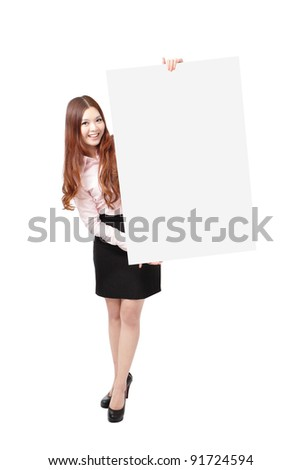Young Business Woman Happy Smile Showing blank billboard isolated on white background, Model is a asian beauty - stock photo