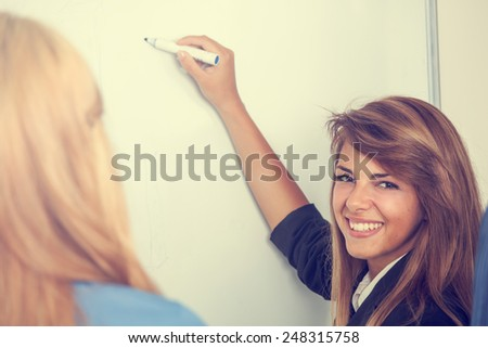 Young business woman having a project presentation on an important meeting - stock photo